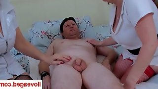 Trickee dickee cums in one of the nurses warm mouth