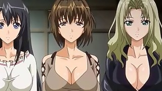 One of the three anime sisters gets banged by loads of horny guys