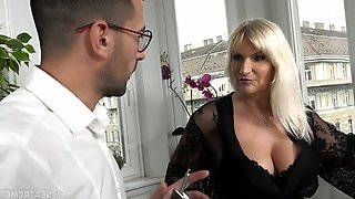 Busty old rich woman Anna Valentina gets initiate with young gigolo