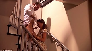 Erotic love making on the stairs with moaning lady Penny Flame