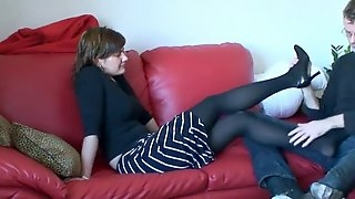 Maxim gives a pantyhose footjob