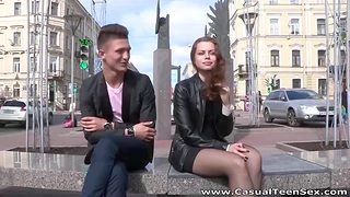 Dude with crestfallen balls picks up pretty Russian girl and fucks her on the first date