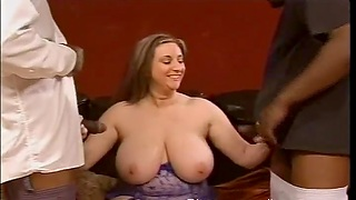 Closeup video of chubby Kitty Lee getting fucked by team a few black dudes