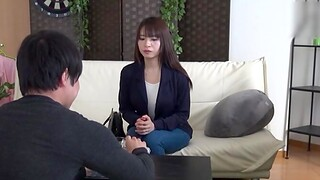 Gentle lovemaking on the sofa with a shy Japanese stranger