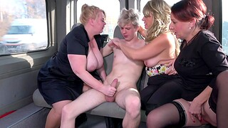 Young dude having fun with Coco Blond coupled with other grown-up chicks