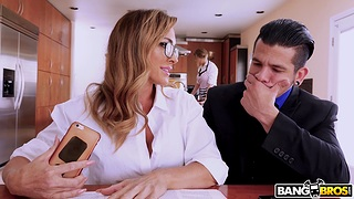 Provocative wife Aubrey Sinister gives head under the table and rides