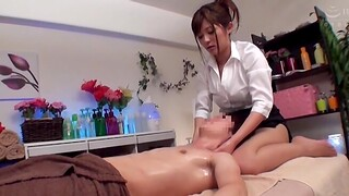 Stunning Japanese chick wants to massage a friend's hard dick