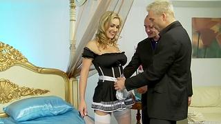 Balls deep MMF threesome with putrefied maid Tanya Tate in uniform