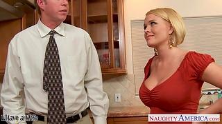 Hot nextdoor girl Krissy Lynn seduces married guy and they enjoy crazy sex on the floor