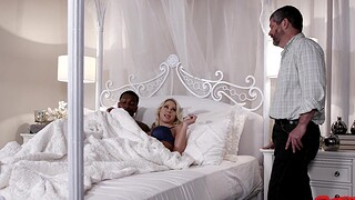 Busty blonde wife Katie Morgan rides a BBC while hubby watches