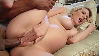 Slutty pregnant chick Ruth Blackwell moans while riding a black dick