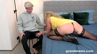 Granny works nephew's load of shit in plain cam porn