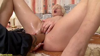 Unshaved granny gets extreme deep and rough interracial double fist