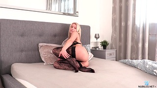 Watch amazing chick Serenity in stockings playing with her pussy