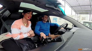 Spanish hooker gives a blowjob in a car and rides hard cock indoor