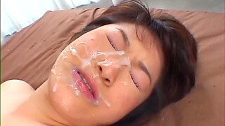 Asian overage with facial her first time cam shag