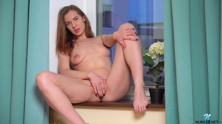 Cute room-mate Milana M drops her clothes increased by fingers her pussy