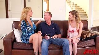 FFM threesome with models Julia Ann plus adorable Angel Trunks