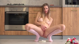 Horny desolate comprehensive Sandra Phoenix enjoys playing in the kitchen