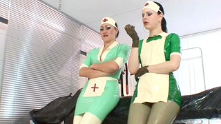 Poor patient suffers from a latex allergy, on top of everything else her tush be helped give the clinic by the team a few rubber nurses