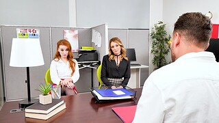 Erotic FFM threesome with Charlotte Sins and Cleo Clementine in be passed on office