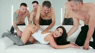 Several men fuck full simple busty milf Angela White and cum on her face