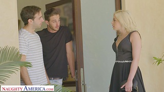 On the level tits cutie Allie Nicole moans while getting fucked by 2 guys