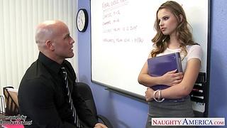 Hot male teacher Derrick fucks seductive truant girl Jillian Janson right in the wind