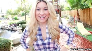Outdoors POV video of adorable Allysin Wonderland trample balls