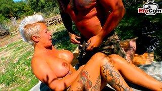 German blonde mature Milf lady-love outdoor