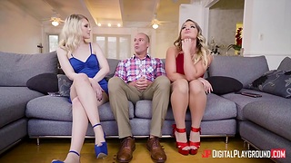 Bald headed challenge Sean Lawless fucks super hot chicks Lily Rader and Cali Carter