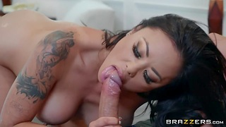 Brutal guy with huge cock fucks Asian milf Kayleni Lei yon all her holes