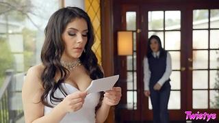 Sexy bride Valentina Nappi is fucked by tattooed woman Joanna Angel