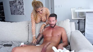 Horny Andrea Grey wearing fishnet bodystocking being fucked
