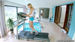 Hot chick Natali Starr works out and gets fucked by their way girlfriend