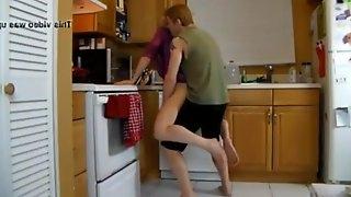 Kitchen grope/grind mother/son