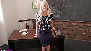 Big tittied teacher Lu Elissa gets naked and gets fucked on the table